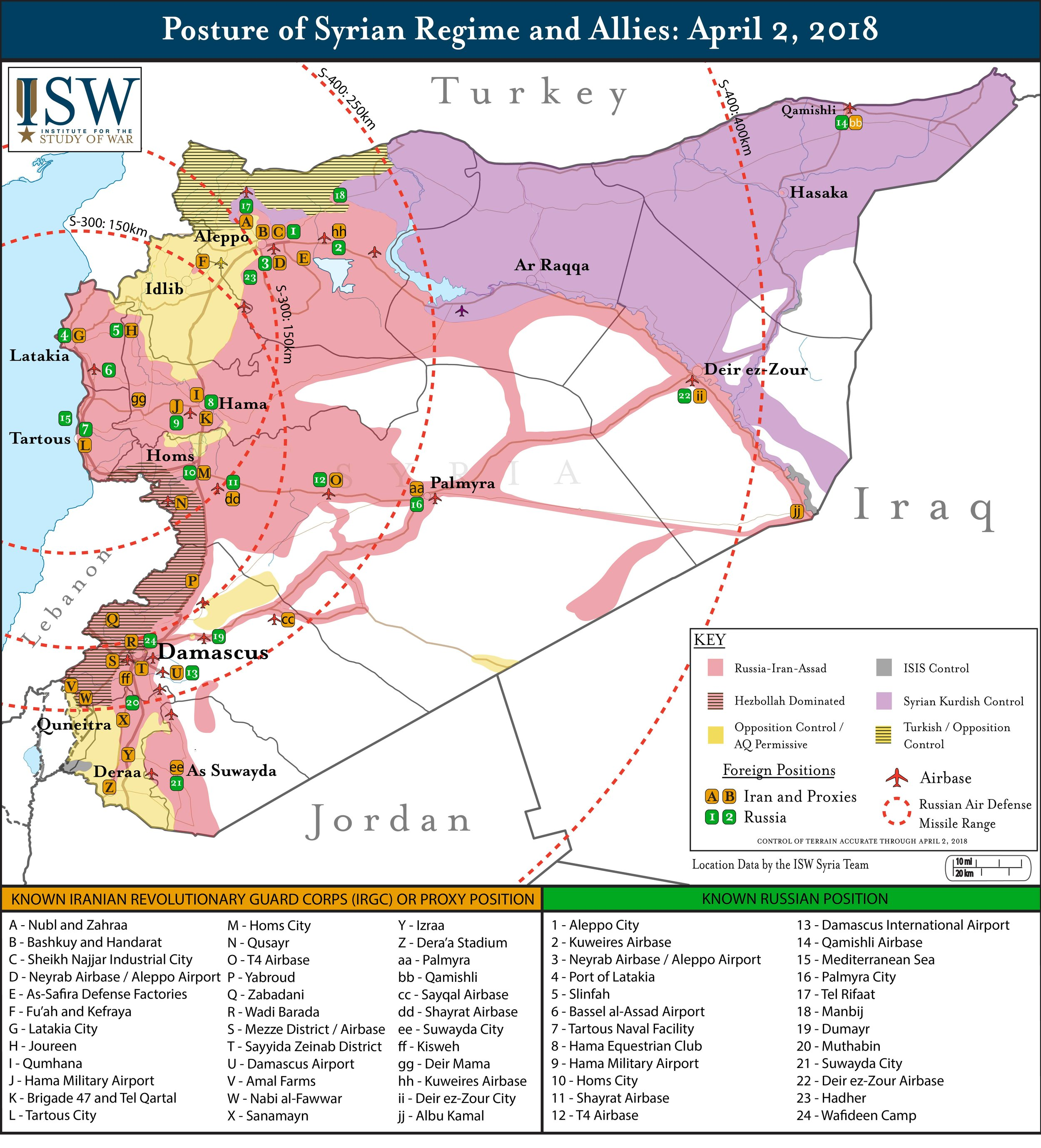 Posture of Syrian Regime and Allies, as of April 2, 2018 ( Institute for the Study of War )