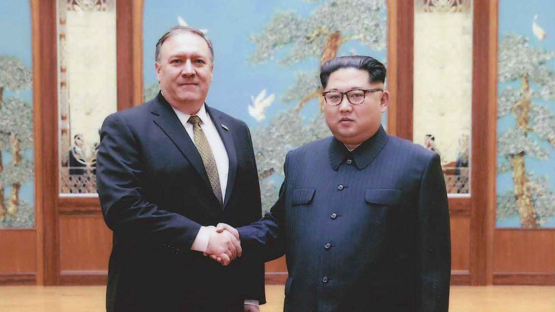 A U.S. government handout photo released by White House Press Secretary Sarah Huckabee Sanders shows U.S. Central Intelligence (CIA) Director Mike Pompeo meeting with North Korean leader Kim Jung Un in Pyongyang, North Korea in a photo taken over Easter weekend 2018. (U.S. Government via Reuters)