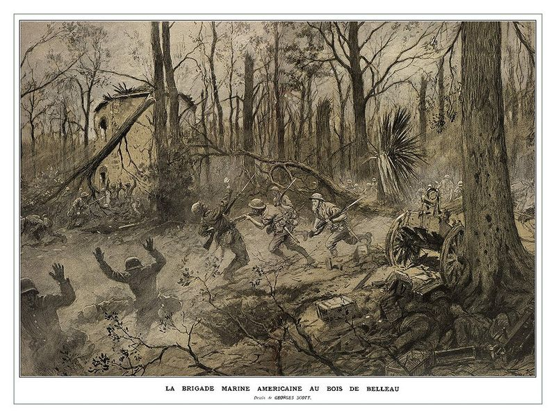 "Georges Scott (1873-1943) illustration ""American Marines in Belleau Wood (1918),"" originally published in the French Magazine Illustrations (Wikimedia)"
