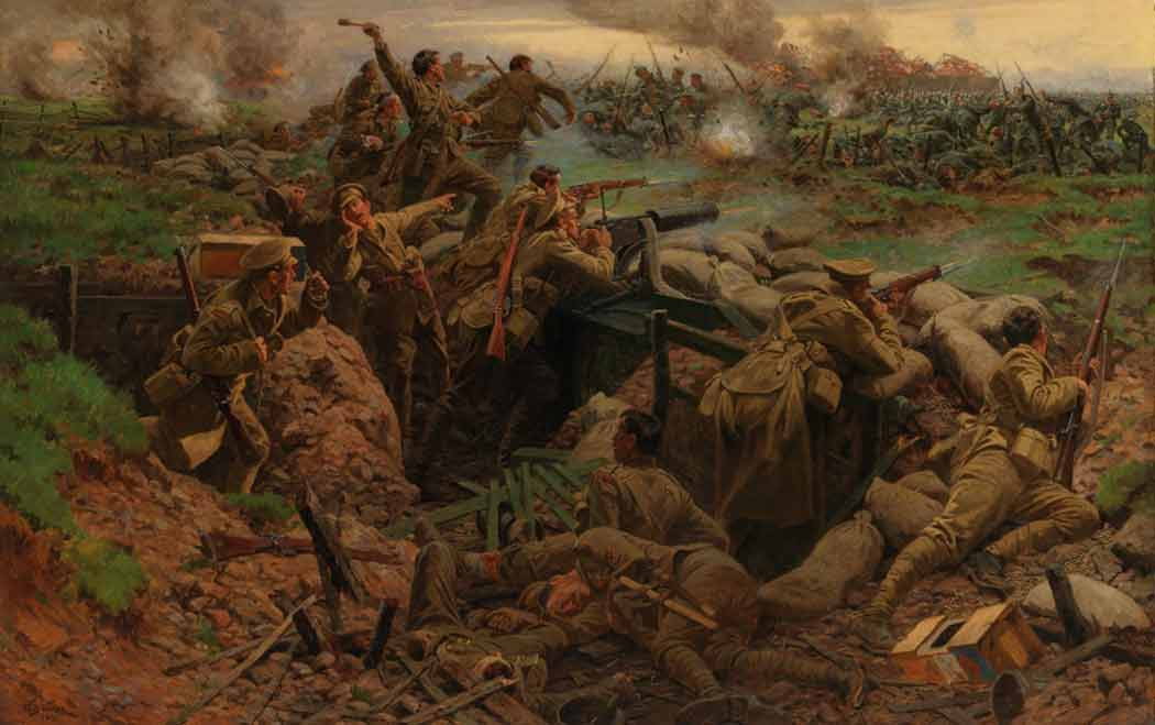 """""""Canadians at Ypres"""" by William Barnes-Wollen, 1915   (via Alex Browne at  Made from History: The Art of World War One in 52 Paintings )"""