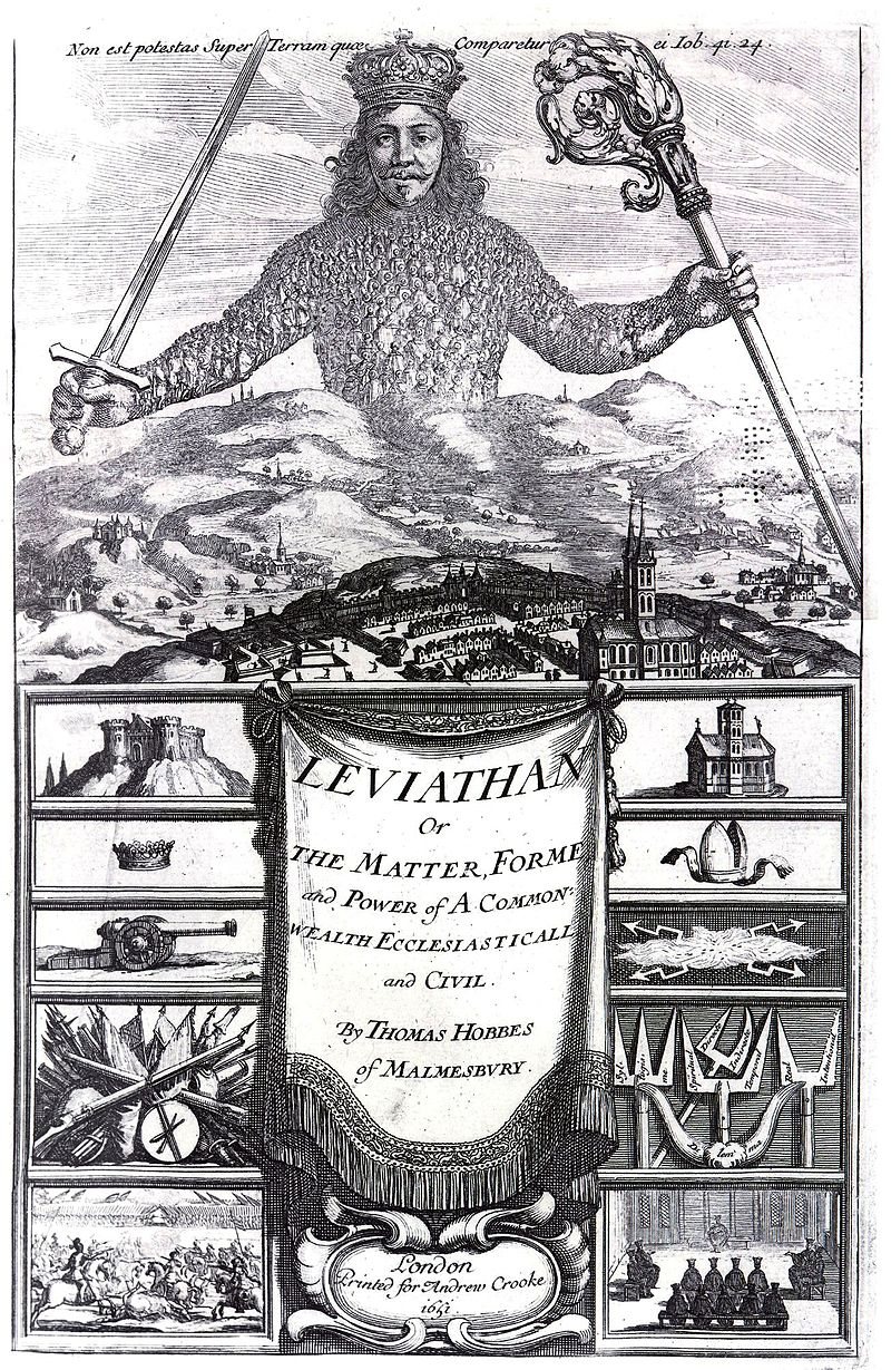The frontispiece of Leviathan by Thomas Hobbes, engraved by Abraham Bosse (Wikimedia)