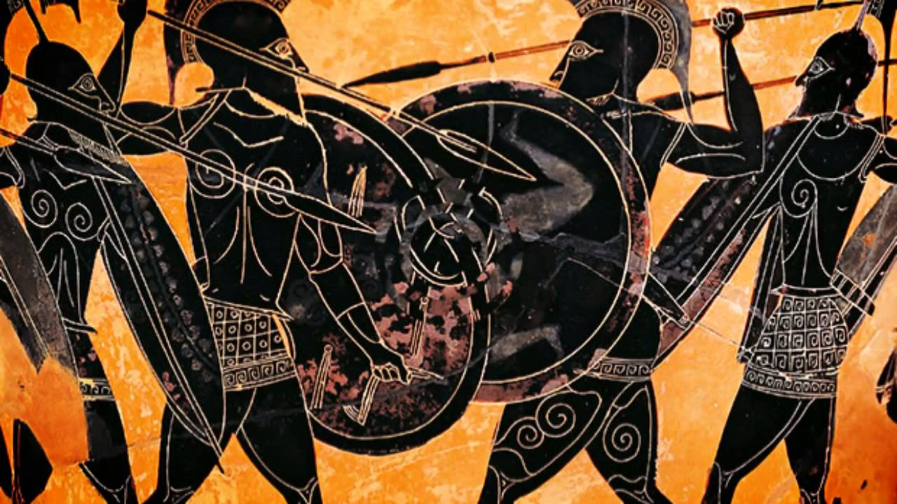 Pottery showing a Greek battle. (  G. Dagli Orti/Getty Images)