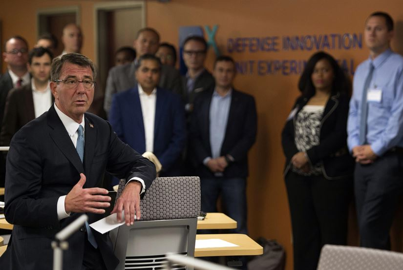 Then-Defense Secretary Ash Carter speaks with Defense Innovation Unit Experimental employees. (USAF Photo/SMSgt Adrian Cadiz)