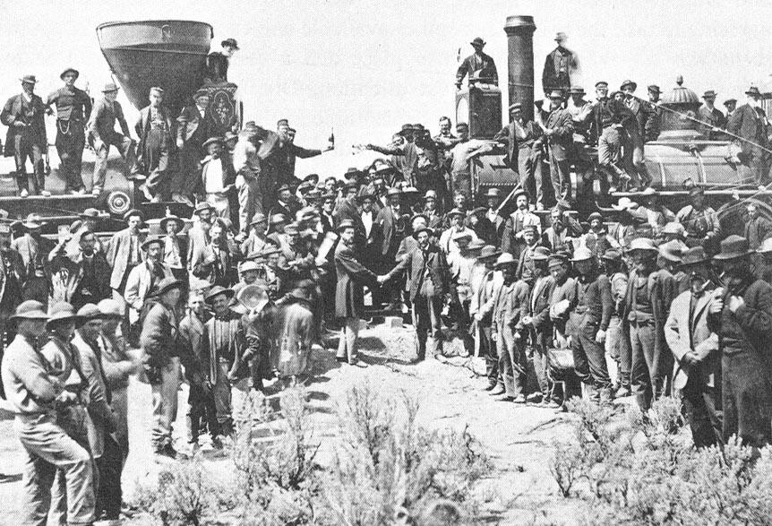 The ceremony commemorating the driving of the golden spike on the first transcontinental railroad in North America, May 10, 1869. (Andrew J. Russell/Wikimedia)