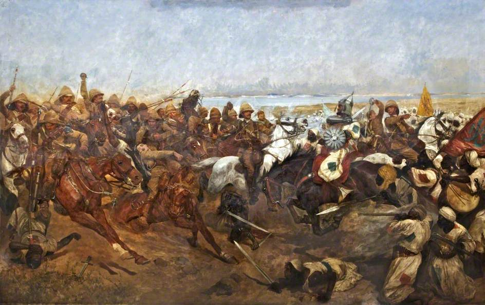 """""""The Charge of the 21st Lancers at Omdurman"""" by Richard Caton Woodville, Jr. (Wikimedia)"""