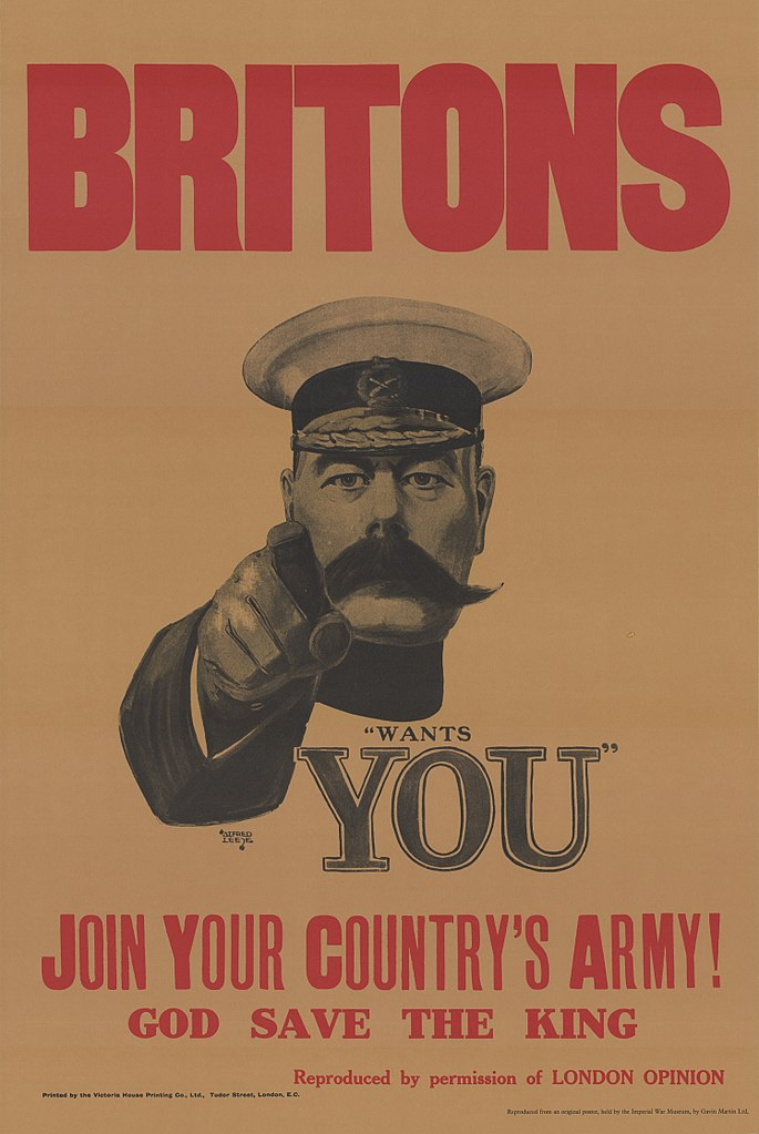 """""""Lord Kitchener Wants You"""" from the London Opinion in 1914. (Wikimedia)"""