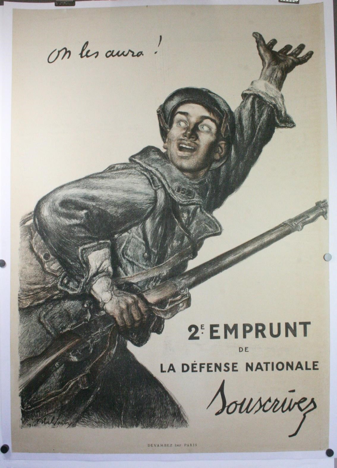"""""""Courage we shall get them!"""" A French poster from World War I designed by Jules Abel Faivre. (Original Vintage Movie Posters)"""