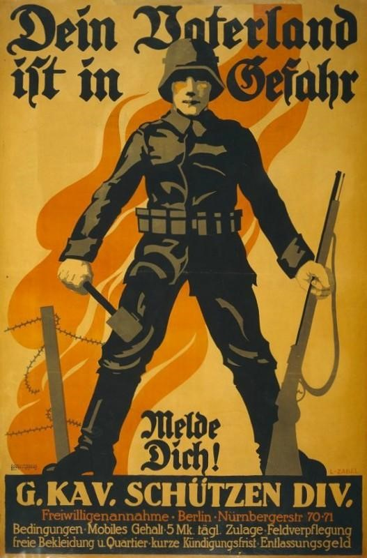 German soldier, holding a grenade in one hand and a rifle in the other; in background a barbed wire fence and flames. (World War I Propaganda Posters)
