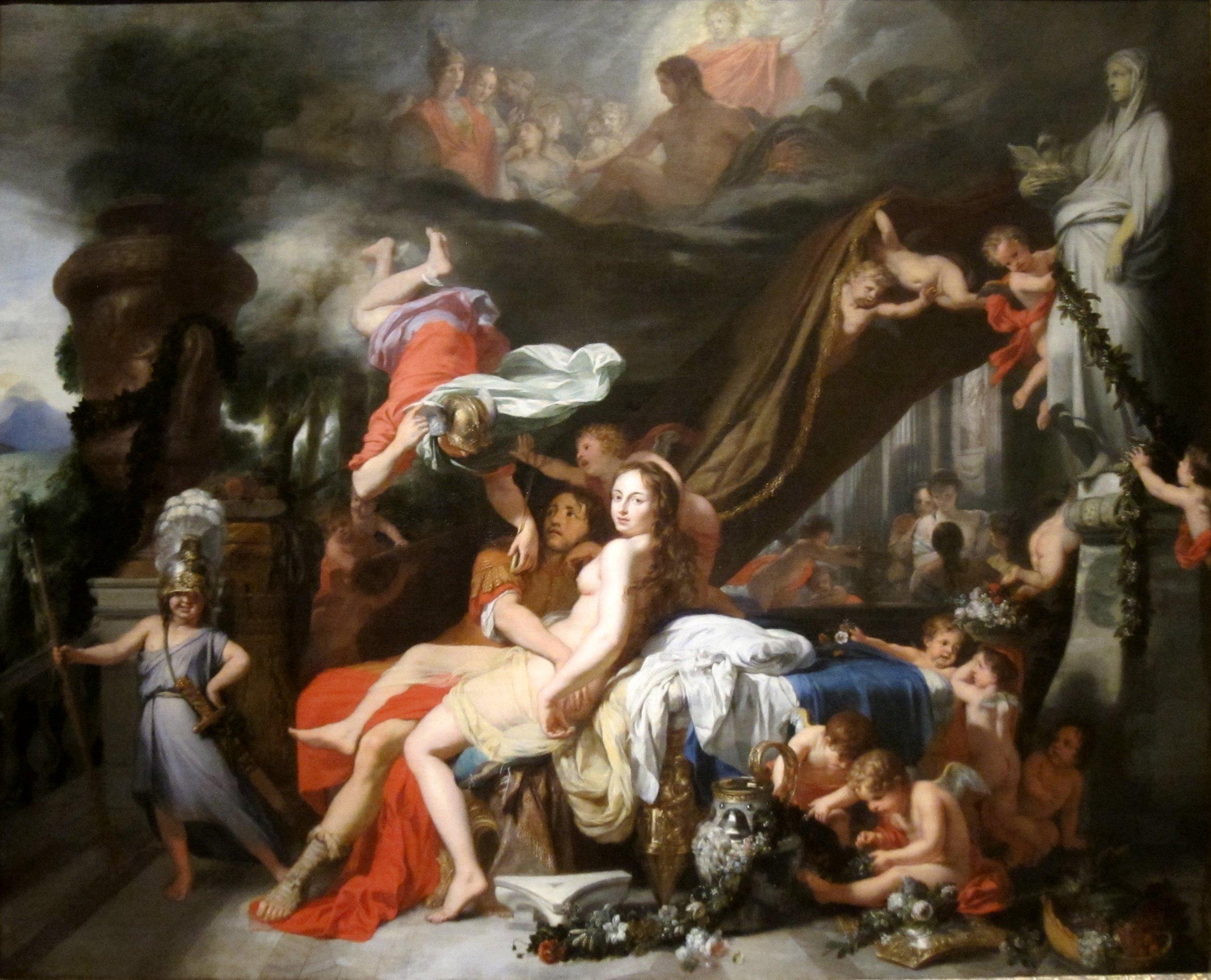 """Hermes Ordering Calypso to Release Odysseus""by Gerard de Lairesse (Wikimedia)"