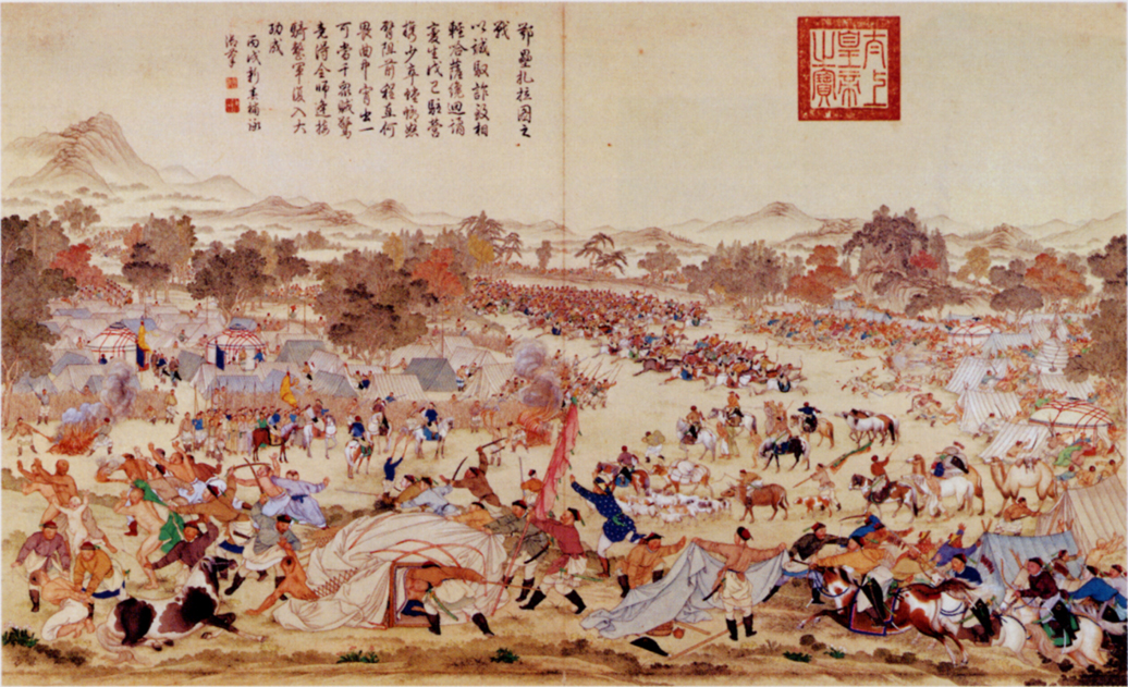 Painting of the 1758 Battle of Oroi-Jalatu, in which the Qing defeated the Dzungar. (Wikimedia)