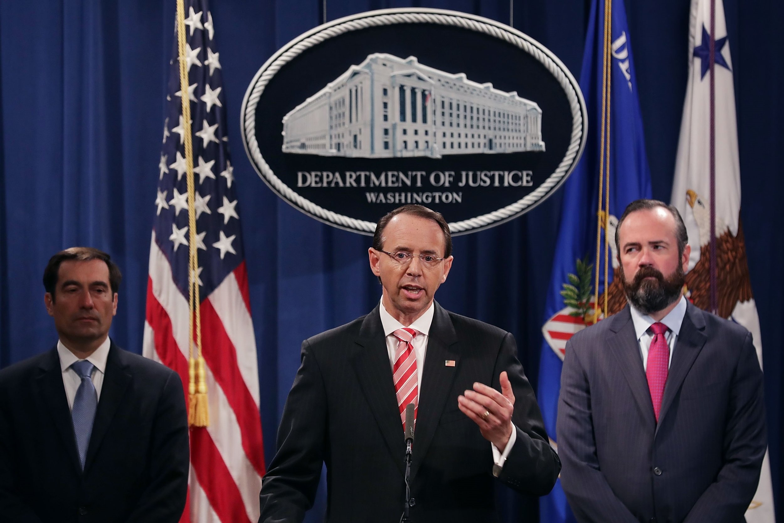 Deputy Attorney General Rod Rosenstein, joined by Justice Department officials John Demers and Edward O'Callaghan,discusses the indictments of Russian agents in a news conference at the Department of Justice on July 13,   2018   in Washington, DC. (Getty Images/Chip Somodevilla)