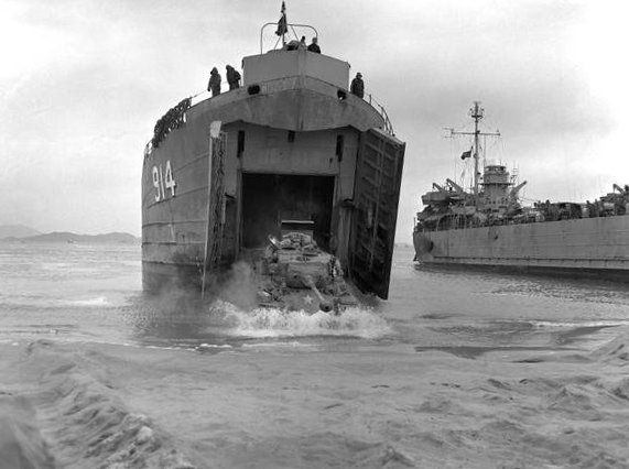 A General Patton tank (M-46) leaving through the bow doors of USS LST-914 during the invasion of Wonsan, Korea, 2 November 1950. (U.S. Navy Photo)