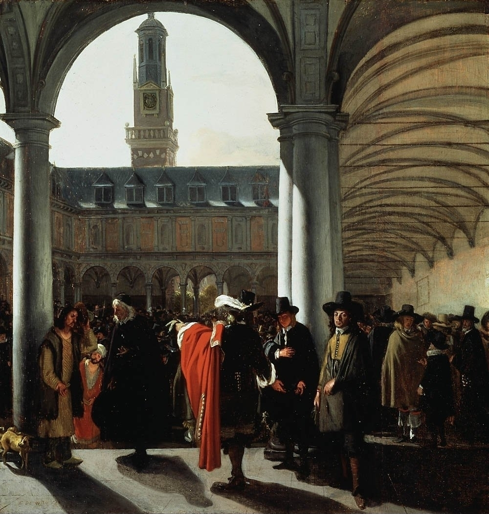 """""""The Courtyard of the Beurs in Amsterdam"""" pained by   Emanuel de Witte in 1653 (Wikimedia)"""