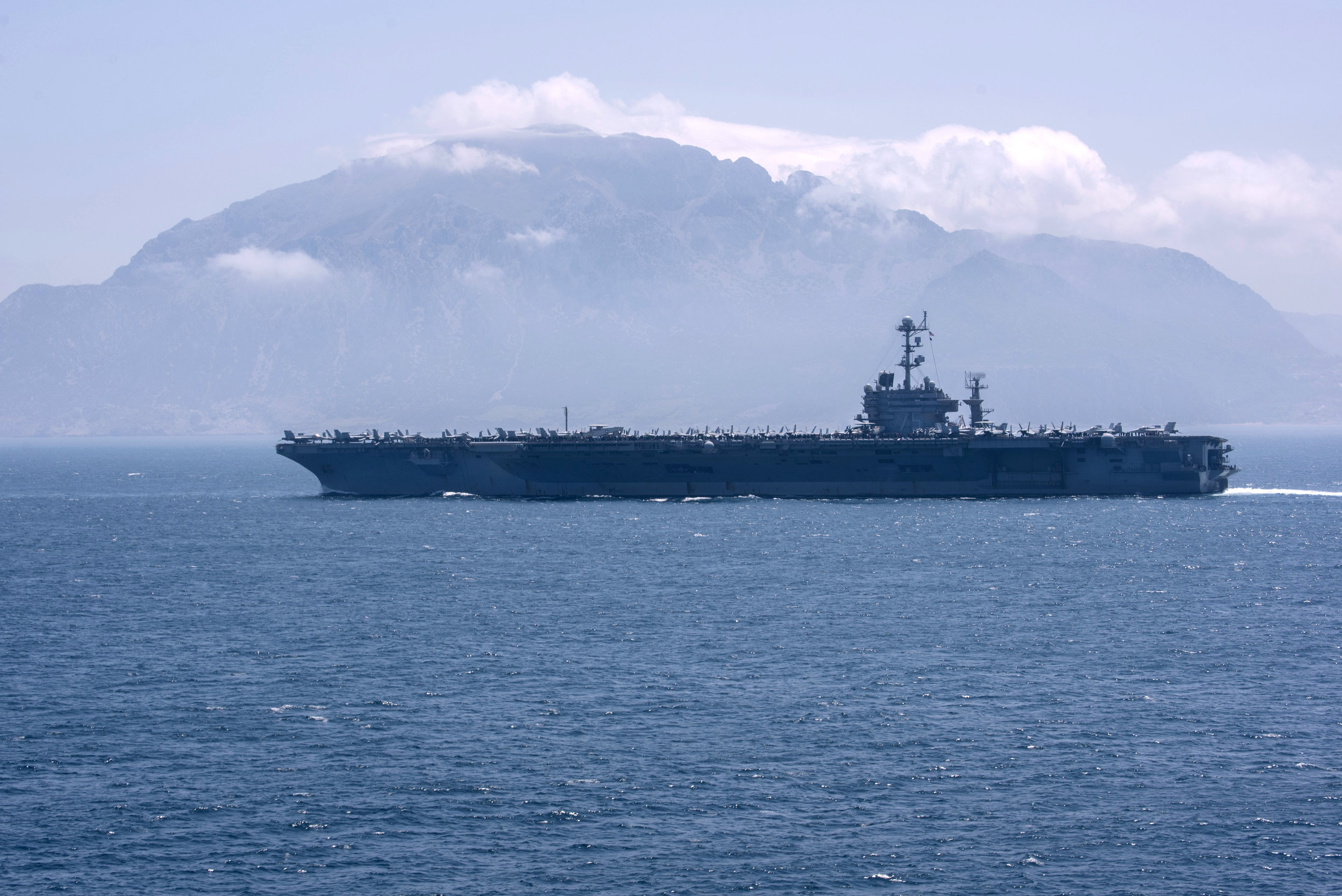 USS Harry S. Truman (CVN-75) conducts a strait transit. (U.S. Navy Photo)