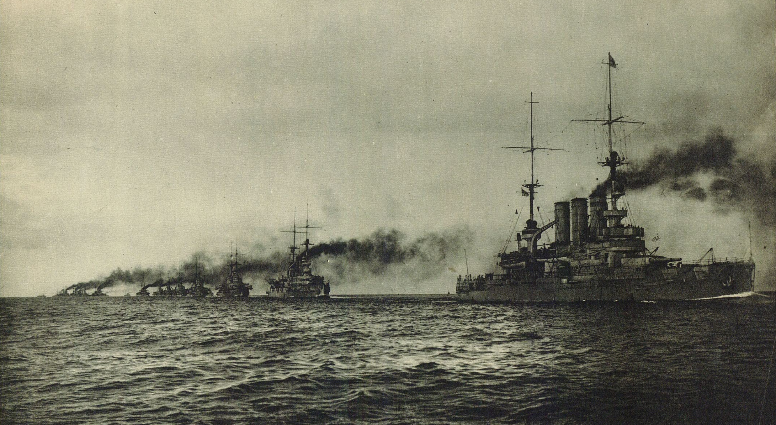 Photo of the German High Seas Fleet, probably before World War I. A member of the Braunschweig class leads the line. (Wikimedia)