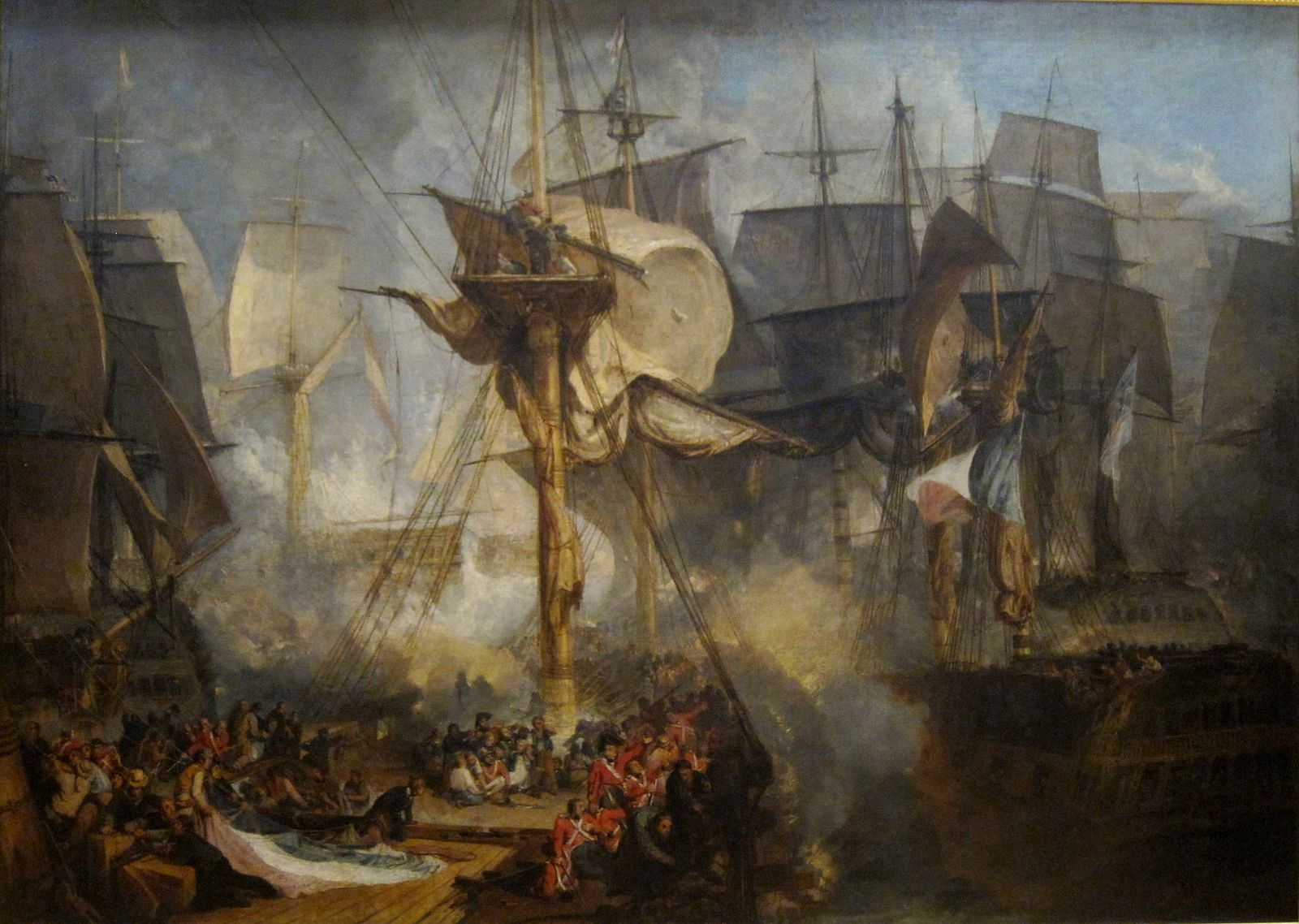 The Battle of Trafalgar, as seen from the starboard mizzen shrouds of the Victory, painted by J. M. W. Turner (Wikimedia)