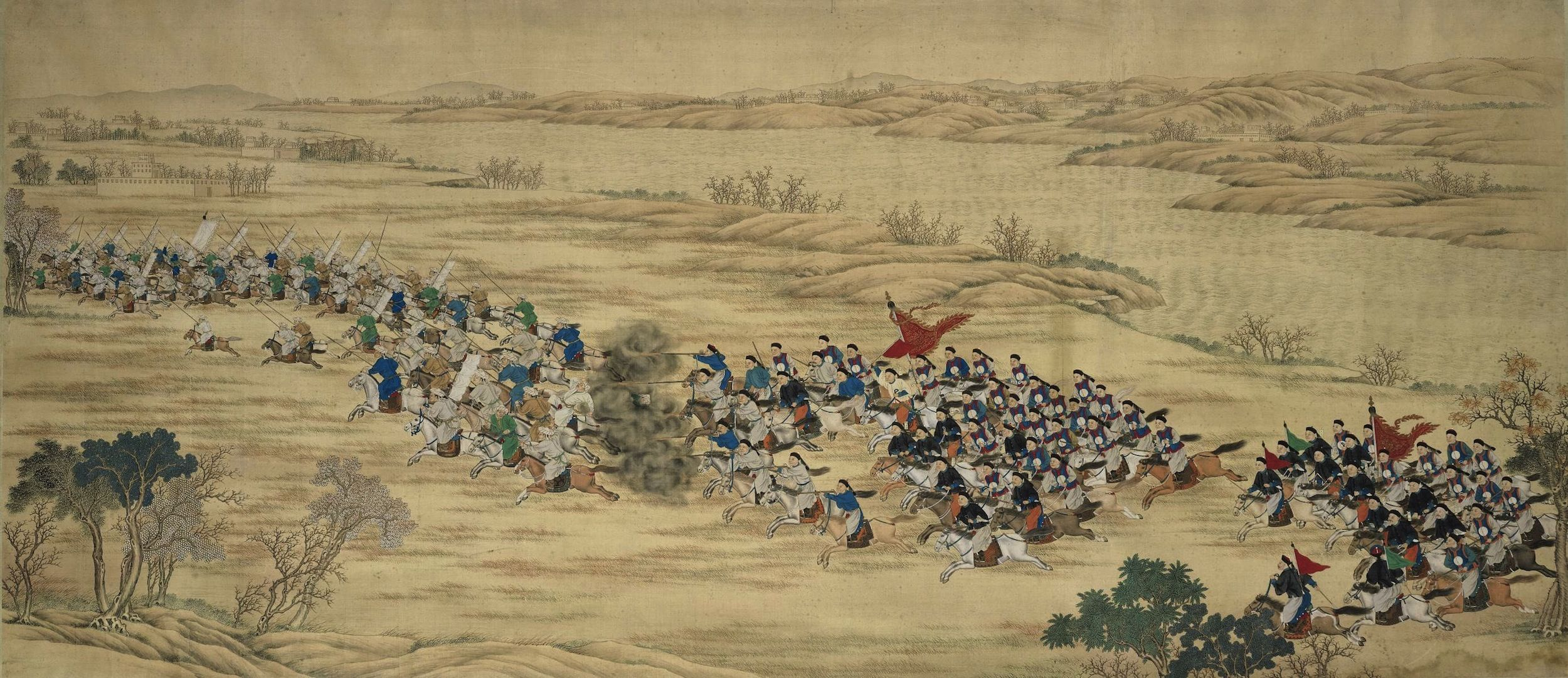 An Imperial Battle Painting from the Set of Seventeen Paintings Commemorating the Campaign Victories in the Northwestern Region, Qing Dynasty, Guangxu Period. (Pinterest)