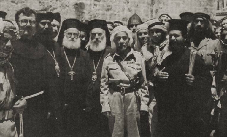 King Abdullah outside the Church of the Holy Sepulchre, Jerusalem, 29 May 1948. (John Roy Carlson/Wikimedia)