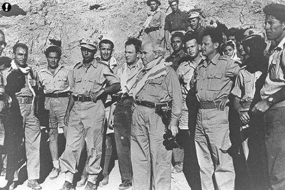 David Ben-Gurion with Yigal Allon and Yitzhak Rabin in the Negev, during the 1948 Arab–Israeli War. (Wikimedia)