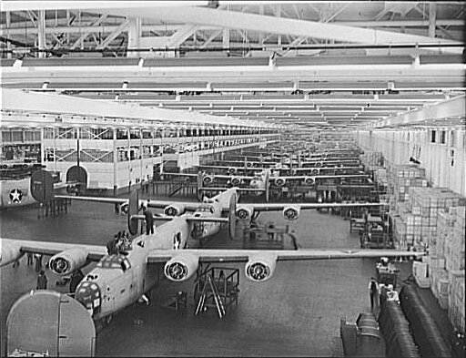 American B-24 Liberator bombers under construction during World War II. (Howard R. Hollem/Wikimedia)
