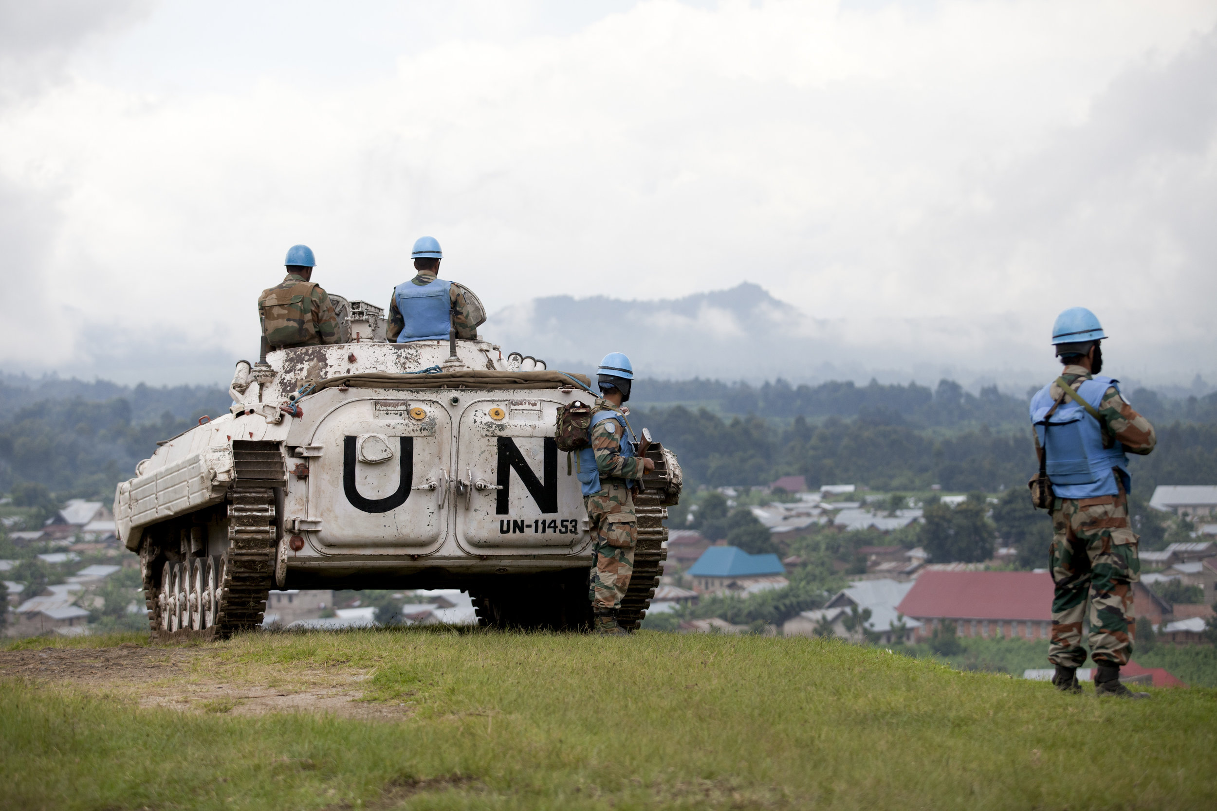 Indian peacekeepers with the MONUSCO mission watch over conflict zone in North Kivu province, Democratic Republic of Congo, in 2012. (Sylvain Liechti/United Nations)