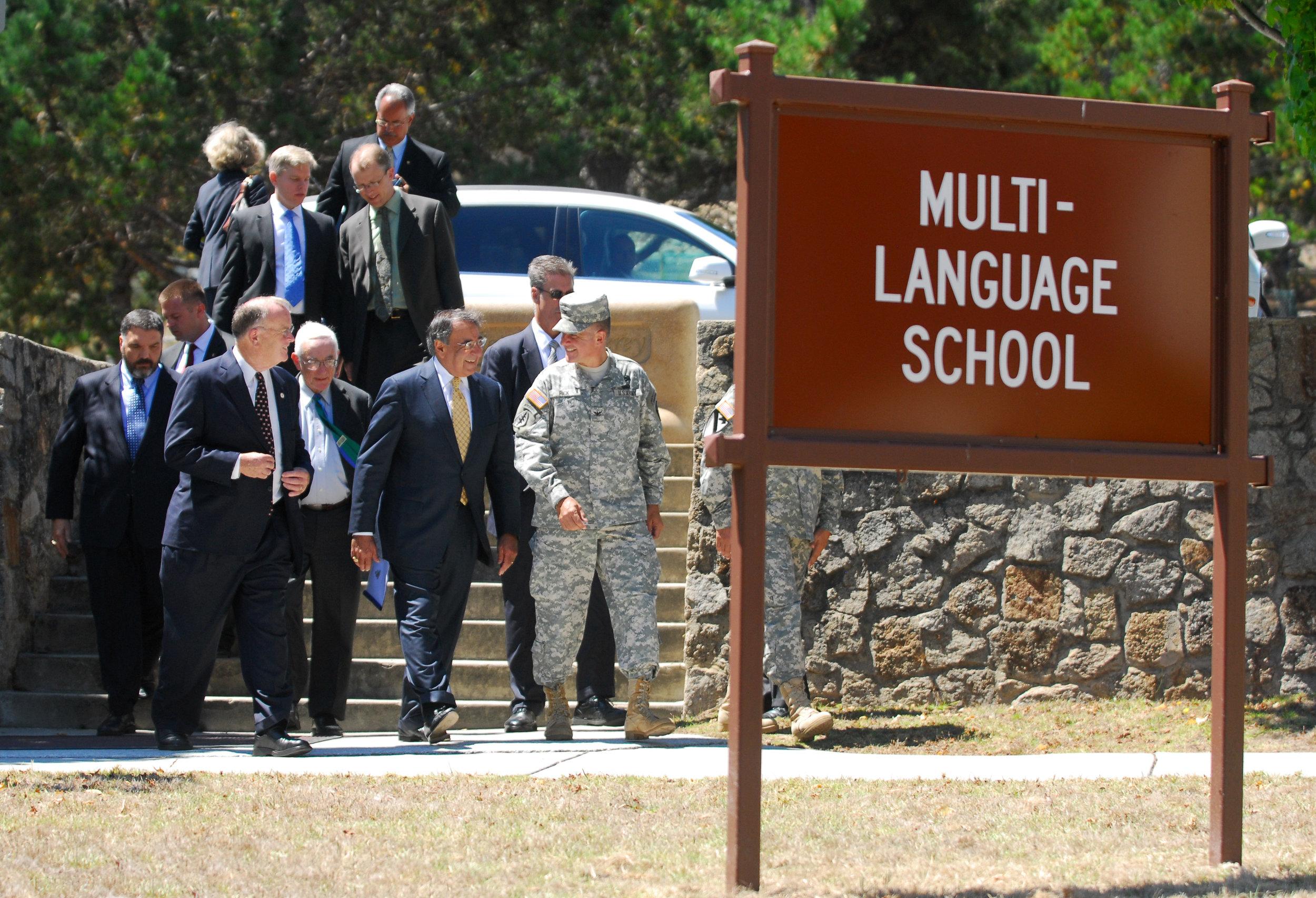 Defense Language Institute Foreign Language Center Commandant Col. Danial Pick escorts Secretary of Defense Leon E. Panetta and Rep. Sam Farr inside the Multi-Language School building at the Presidio of Monterey in 2011. (Steven L. Shepard/U.S. Army)
