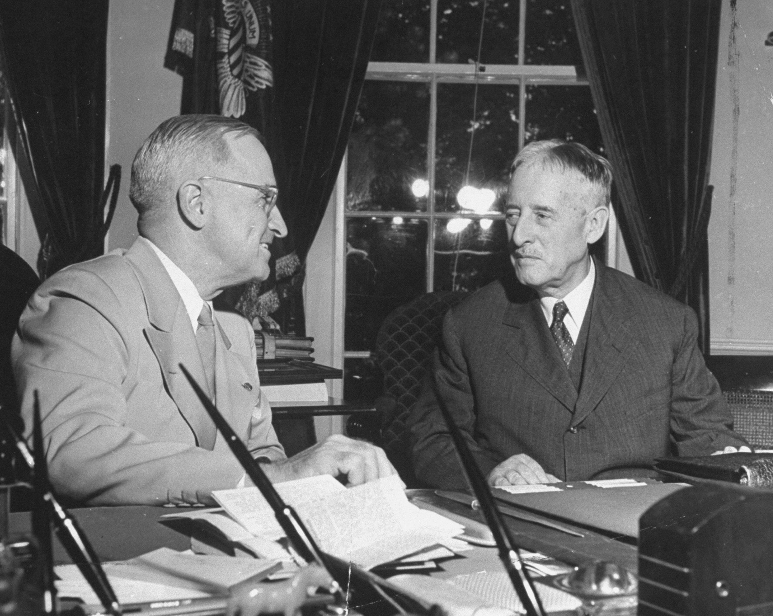 President Harry S. Truman and Secretary of War Henry Stimson (Getty Images)