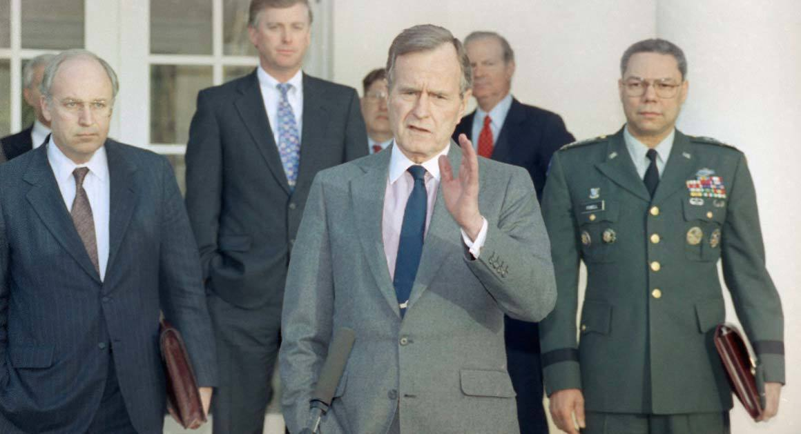 President George H.W. Bush with Secretary of Defense Dick Cheney and Chairman of the Joint Chiefs General Colin Powell (AP)