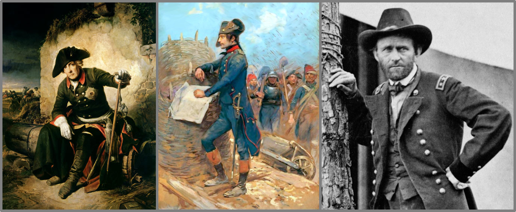 """From left to right: """"Frederick after the Battle of Kolin"""" painted by Julius Schrader, """"Bonaparte at the Siege of Toulon"""" painted by Edouard Detaille, and General Grant at the Battle of Cold Harbor in 1864 photographed by Edgar Guy Fawx (Wikimedia)"""