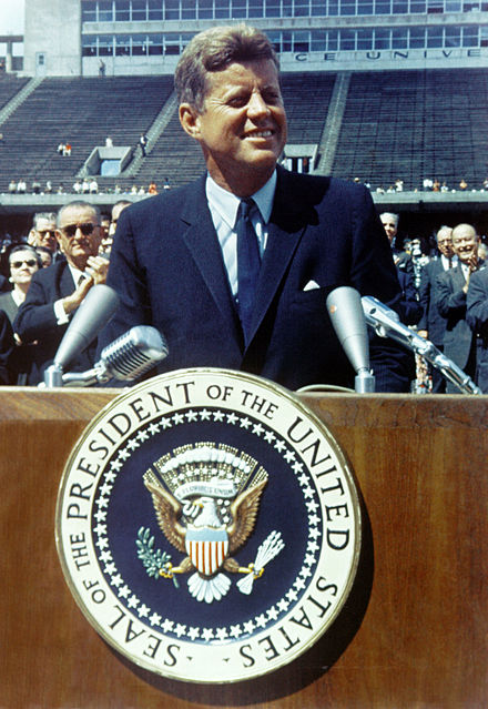 "President John F. Kennedy: ""We choose to go to the Moon! We choose to go to the Moon in this decade and do the other things, not because they are easy, but because they are hard..."" (NASA/Wikimedia)"