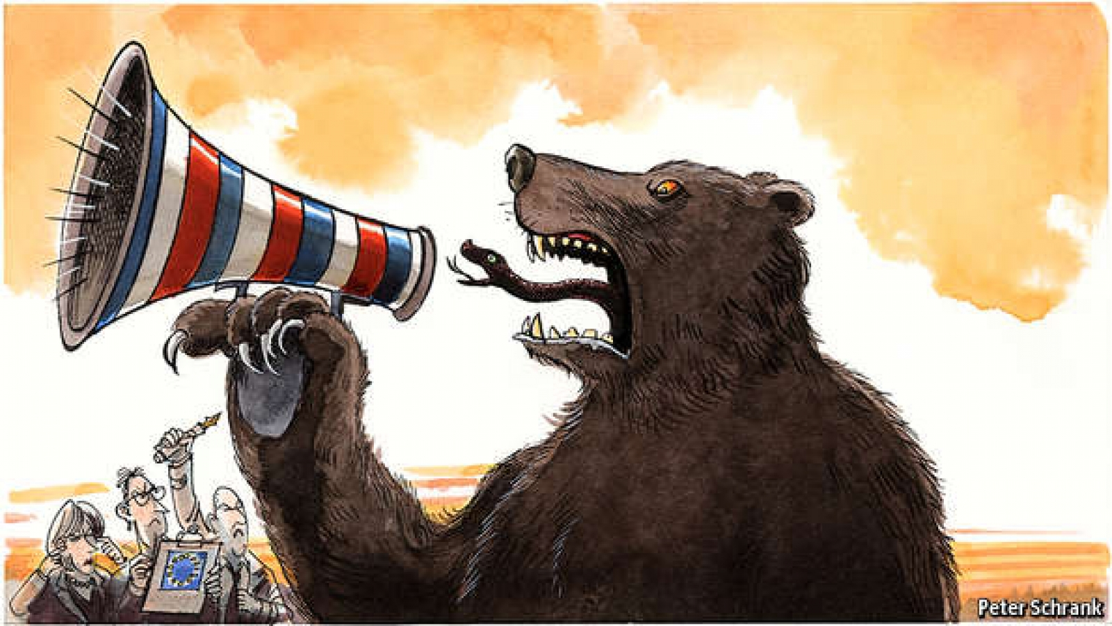 Europe is belatedly waking up to Russia's information warfare. (Peter Schrank/The Economist)