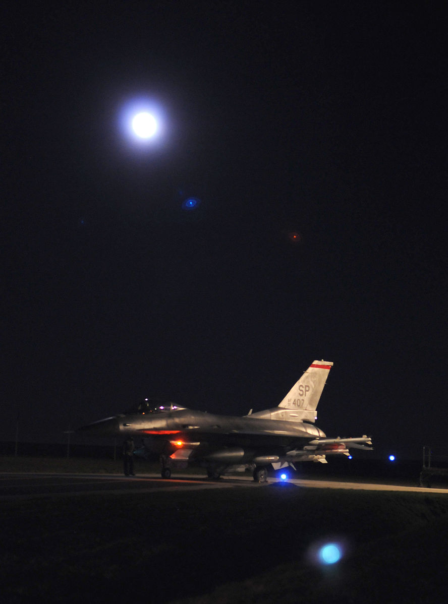 A U.S. Air Force F-16 prepares for take-off from Spangdahlem Air Base, Germany, March 19, 2011, in support of Odyssey Dawn. (USAF Photo/Wikimedia)