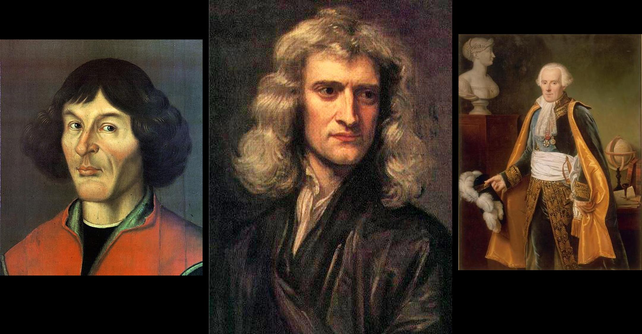 Copernicus, Newton, and Laplace (Wikimedia)