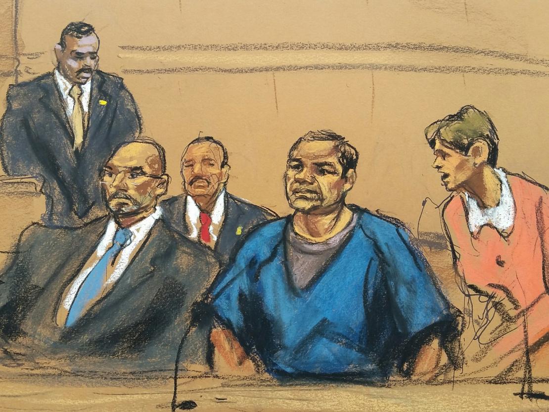 """A sketch of Joaquín """"El Chapo"""" Guzmán in Brooklyn federal court on Nov. 8, 2017. (Jane Rosenberg)"""