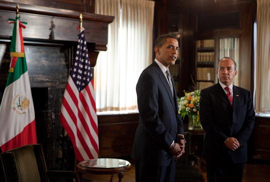 President Barack Obama meets President Felipe Calderón in 2009. (Pete Souza)
