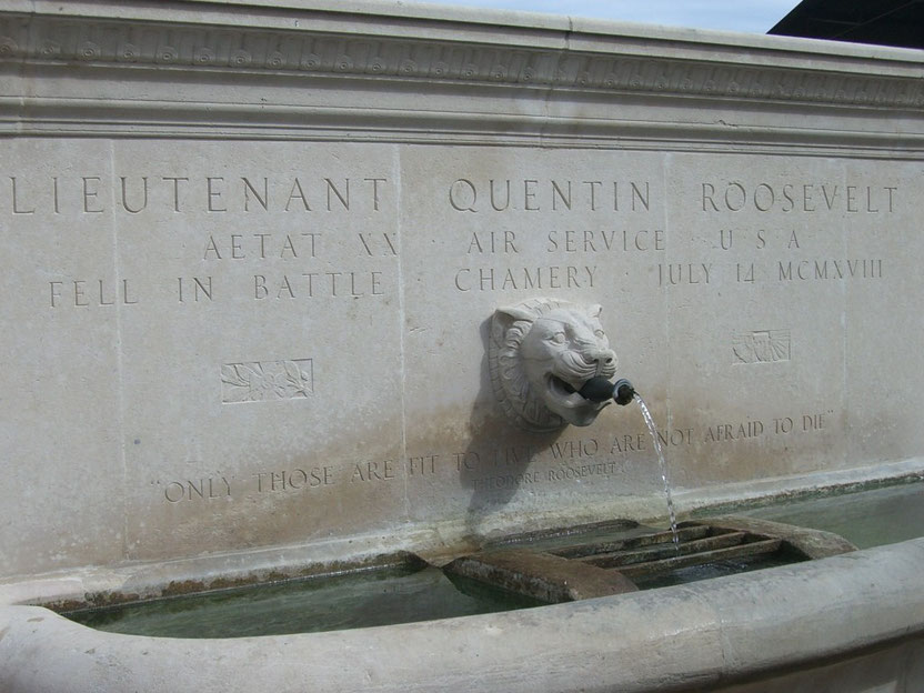 In the little village of Chamery stands the fountain erected by the family of First Lieutenant Quentin Roosevelt, youngest son of President Theodore Roosevelt, killed in a dogfight over the area on July 14th 1918. (American Remembrance)