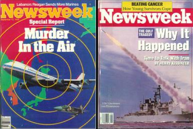 Newsweek covers from September 12, 1983 (left) and July 18, 1988 (right), on the USS Vincennes incident. (Newsweek/Wikimedia)