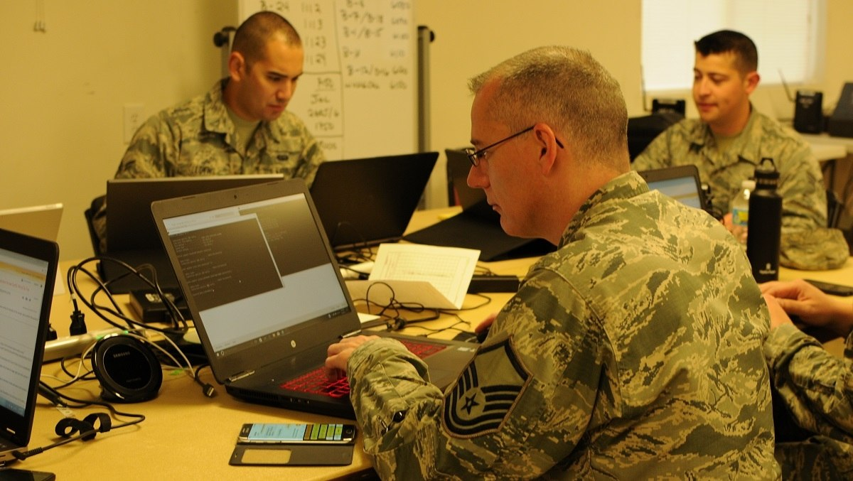 Members of the Texas Air National Guard's 273rd Information Operations Squadron support Exercise Cyber Shield 17. (Wayde Minami/Air National Guard Photo)