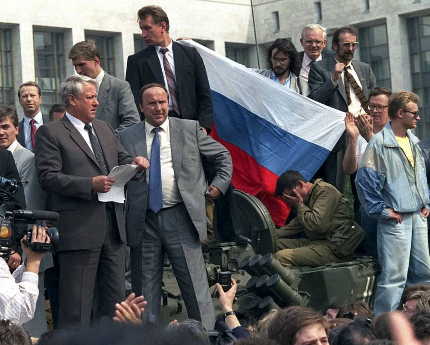 Boris Yeltsin in 1991, staring down a coup. (Reuters)