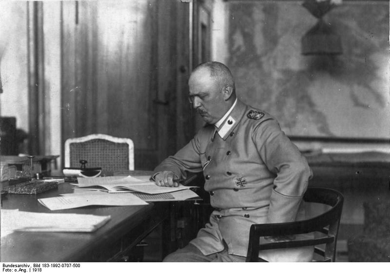 Ludendorff in his study at the General Headquarters in 1918 (Wikimedia)
