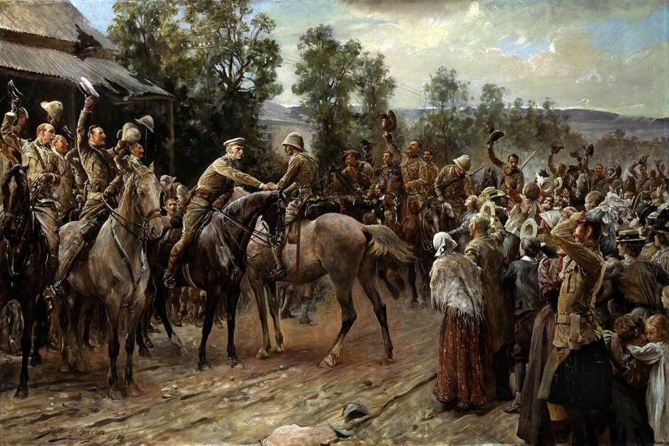 """""""The Relief of Ladysmith, 1900"""" painted by John Henry Frederick Bacon (Wikimedia)"""