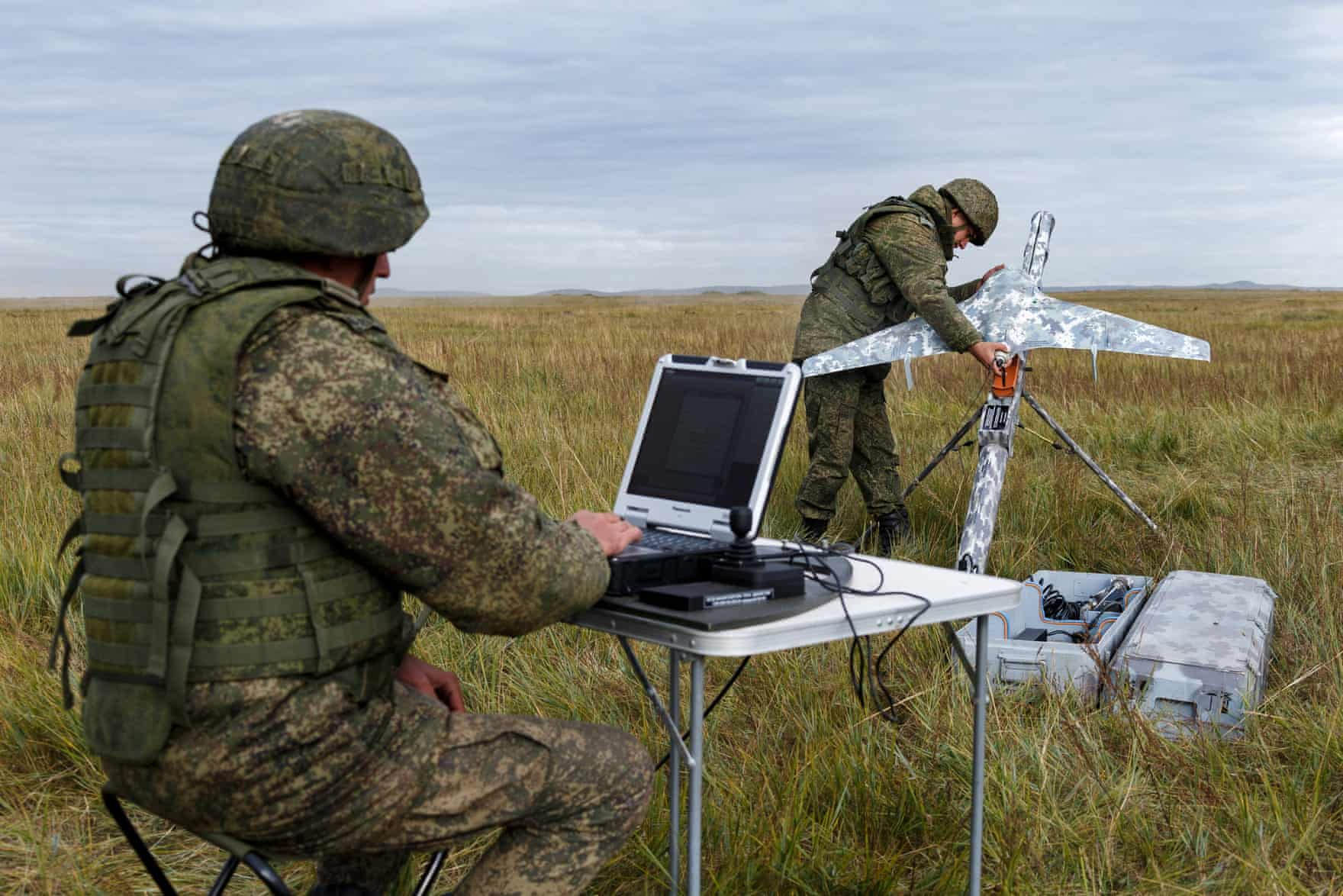 A Russian serviceman holds an Eleron-3 reconnaissance unmanned aerial vehicle (Vadim Savitsky/Tass)