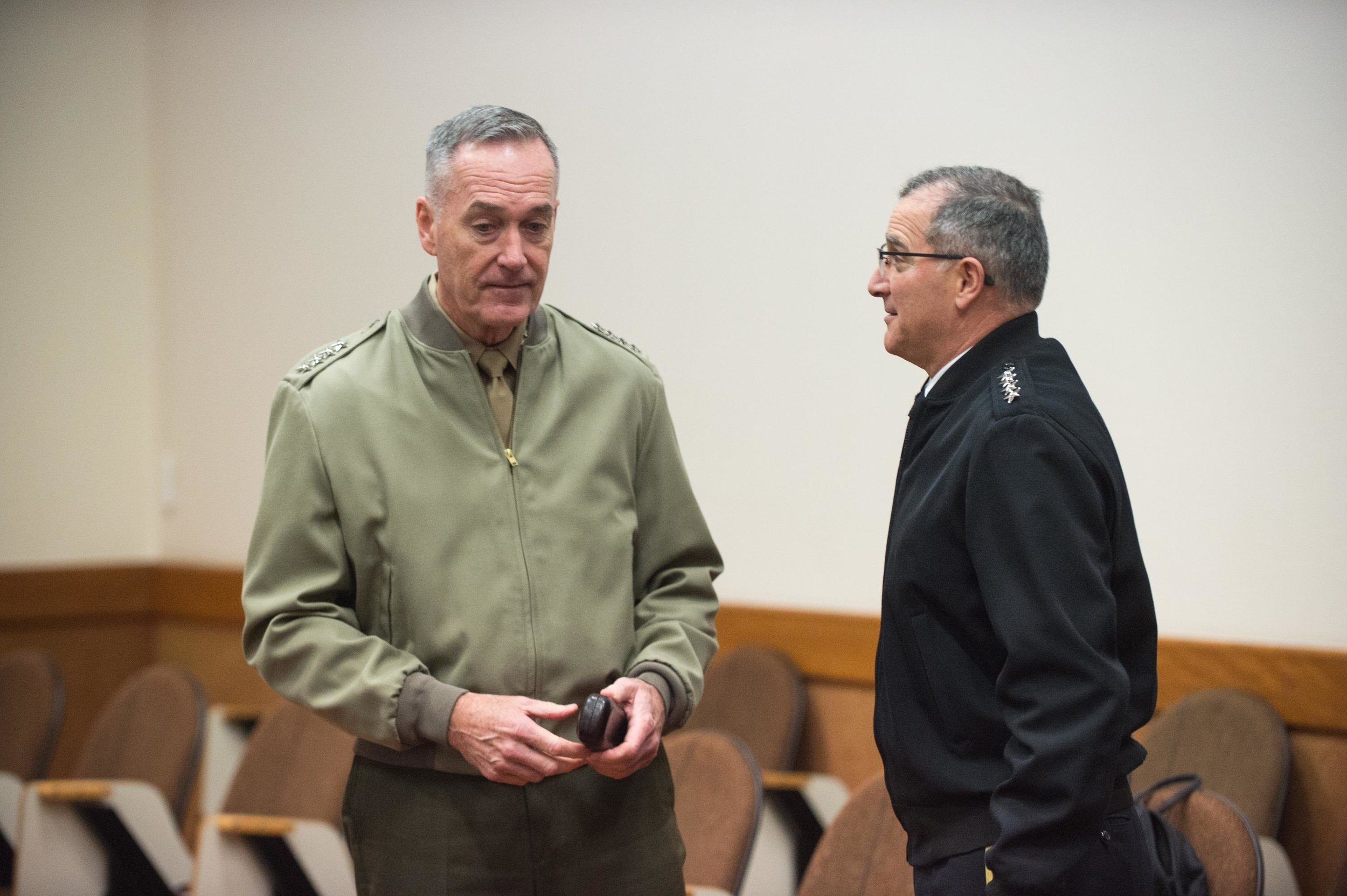 General Joseph Dunford, chairman of the Joint Chiefs of Staff, speaks with General Curtis M. Scaparrotti, Supreme Allied Commander Europe. (Sgt. James K. McCann/DoD Photo)