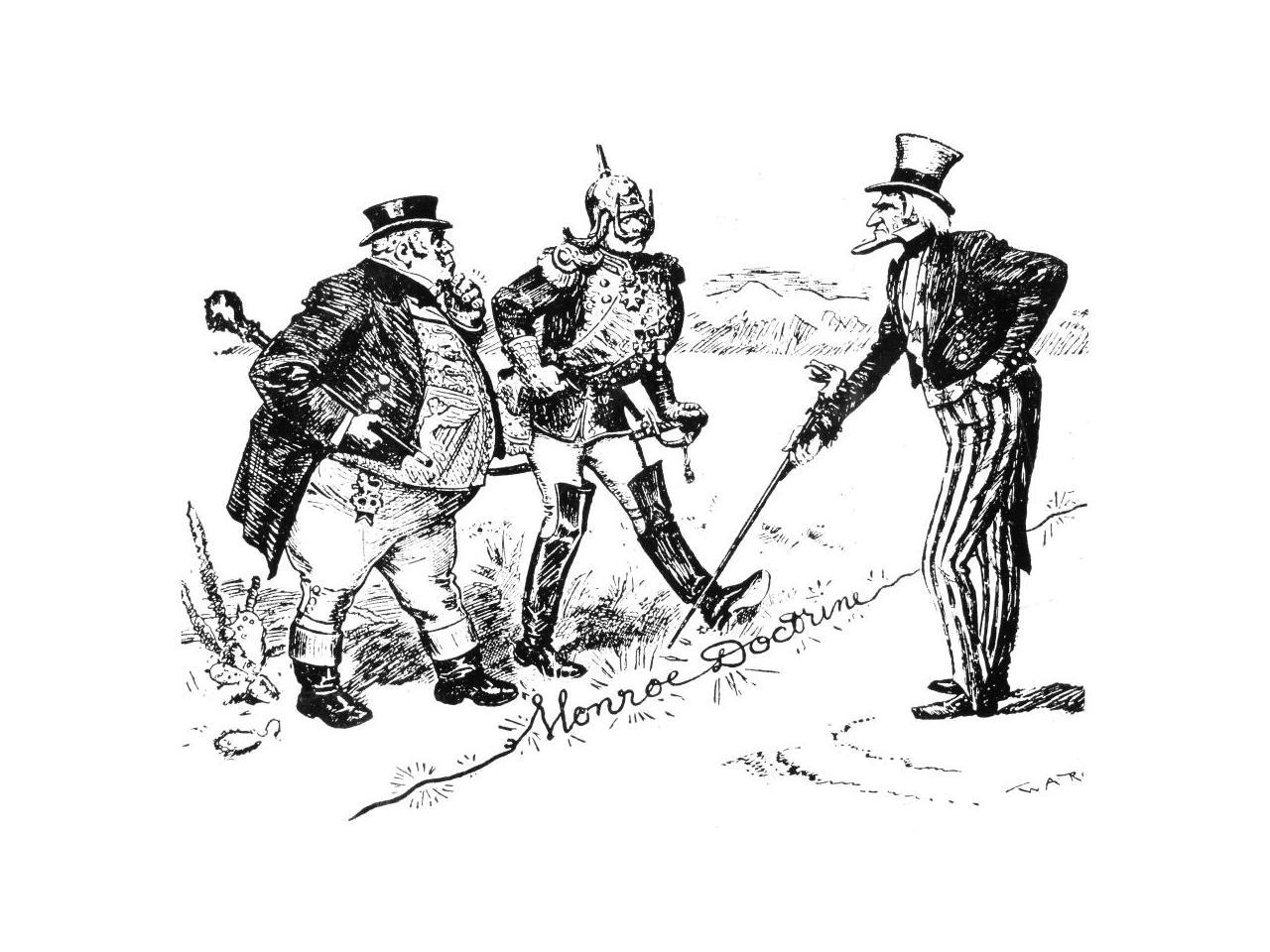 A 1902 Cartoon On German And British Claims Against Venezuela And President Theodore Roosevelt's Intentions To Resist (W.A. Rogers)
