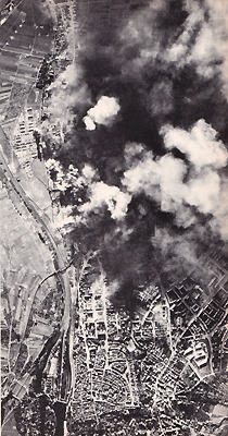 1943 United States Army Air Forces strategic bombing raid on the ball bearing works at Schweinfurt, Germany. (Wikimedia)