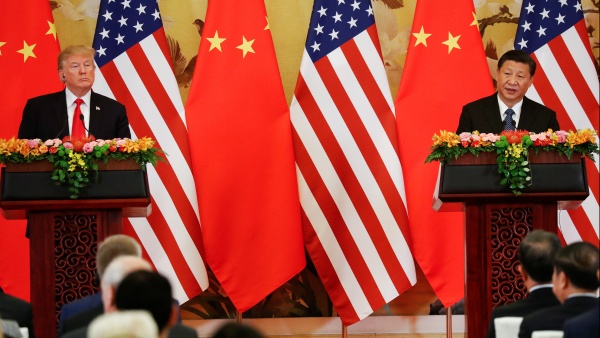 U.S. President Donald Trump and China's President Xi Jinping make joint statements at the Great Hall of the People in Beijing, China, November 9, 2017 (Damir Sagolj/Reuters)