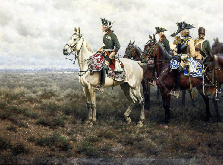 """""""Frederick the Great and his Staff at the Battle of Leuthen"""" painted by Hugo Ungewitter (Wikimedia)"""