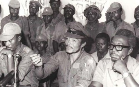 Flight Lieutenant Jerry John Rawlings led Ghana's Armed Forces Revolutionary Council (AFRC) made of young military officers, in a coup d'état on June 4, 1979, that saw the overthrow of the Supreme Military Council (SMC II), another military regime led by General Fred Akuffo. (MyJoyOnline)