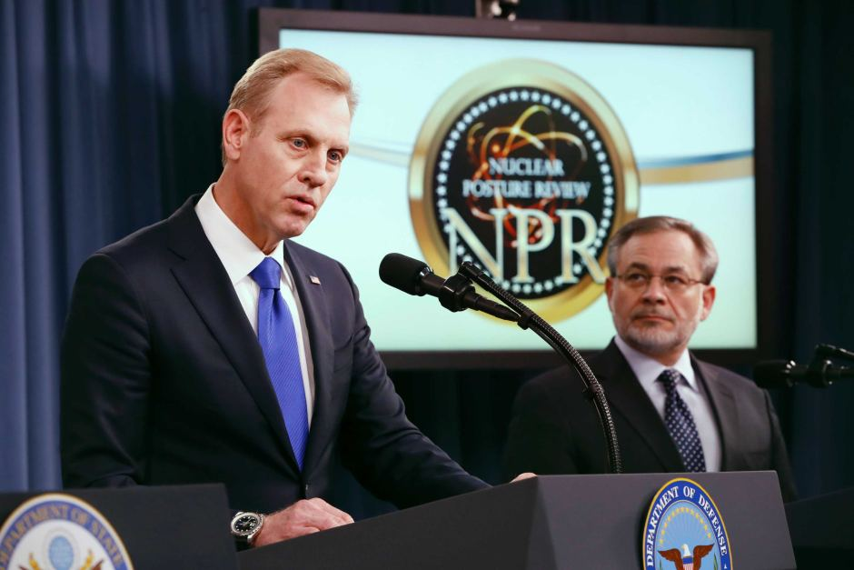 Patrick Shanahan speaks about the Nuclear Posture Review at the Pentagon (Jacquelyn Martin/AP)