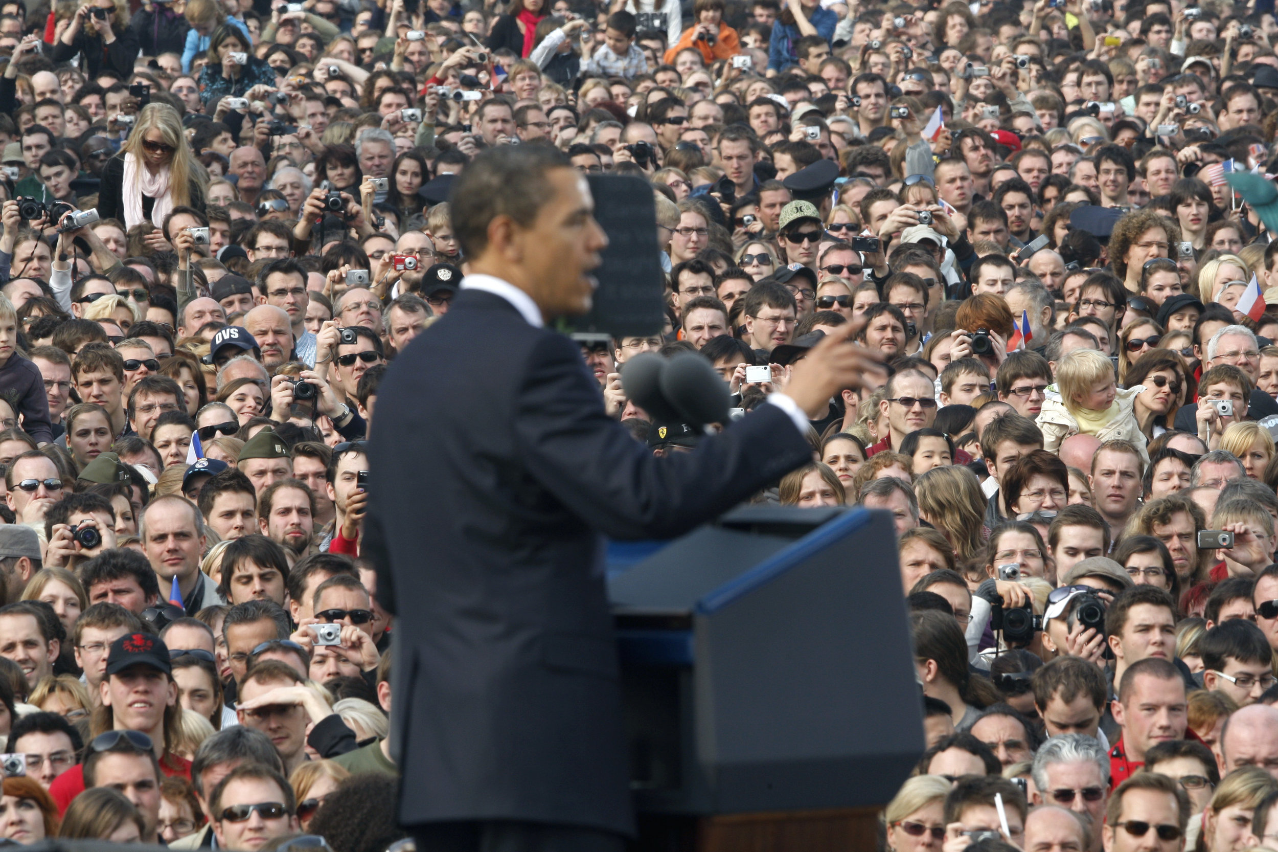 President Obama describing his nuclear-free vision in Prague. (Brookings)